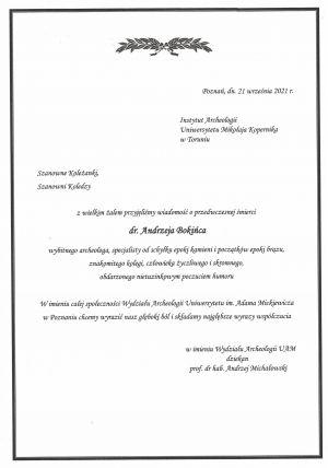 Zmarł archeolog dr Andrzej Bokiniec
